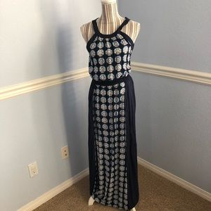 Philosophy navy geo flower maxi dress sz small